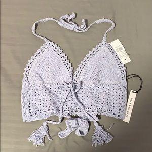 Kendall and Kylie Periwinkle Crochet Bikini Top